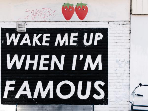 "Instagram Highlights 2017 - Schriftzug auf Wand der besagt ""wake me up when I'm famous"""